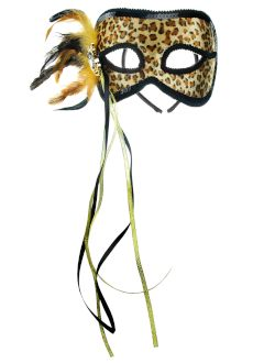 Mardi Gras Mask Leopard With Side Feathers